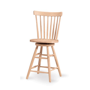 Copenhagen 24-Inch Unfinished Wood Swivel Bar Stool