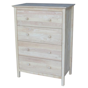 Unfinished Chest with 4 Drawers