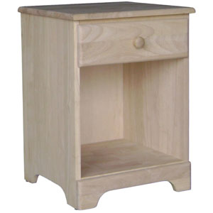 Jamestown Unfinished Wood Night Stand with One Drawer