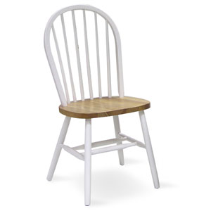 37-Inch High Spindleback White and Natural Chair
