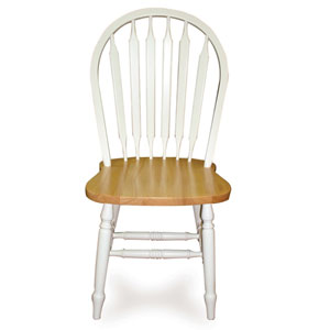 38-Inch Arrowback White and Natural Chair with Turned Legs