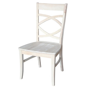 Milano Dining Chair Unfinished with Wood Seat, Set of Two