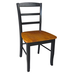 Madrid Black/Cherry Ladder Back Chair, Set of Two