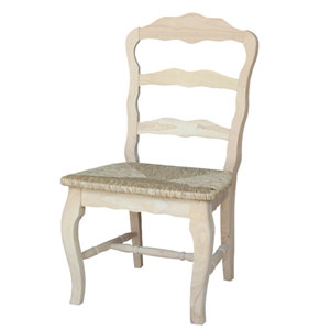 Versailles Side Dining Chair Unfinished with Rush Seat, Set of Two