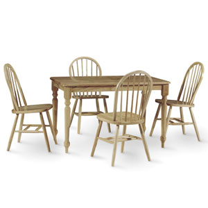 Dining Essentials Natural 30 Inch Inch x 48 Inch Solid Wood Dining Table with Four Chairs