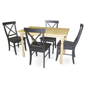 Dining Essentials Natural and Black 30 Inch Inch x 48 Inch Solid Wood Dining Table with Four Chairs