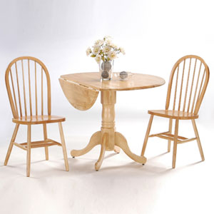 Dining Essentials Natural 42 Inch Dual Drop Leaf Dining Table with Two Windsor Chairs