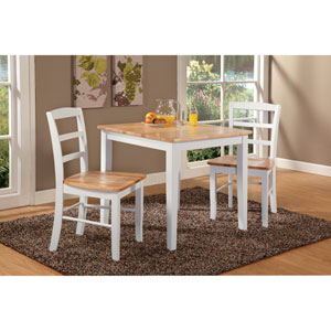 Dining Essentials White and Natural 30 Inch x 30 Inch Dining Table with Two Madrid Chairs