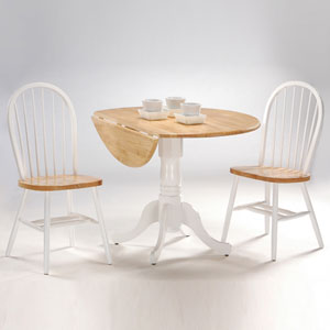 Dining Essentials White and Natural 42 Inch Dual Drop Leaf Dining Table with Two Windsor Chairs