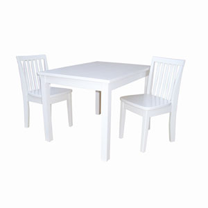 Juvenile Linen White Table with Two Mission Juvenile Chairs