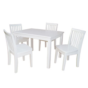 Juvenile Linen White Table with Four Mission Juvenile Chairs