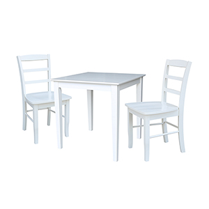 Solid Wood Dining Table with Two Madrid Chairs in White - Set of Three