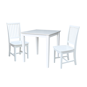Solid Wood Dining Table with Two Mission Chairs in White - Set of Three