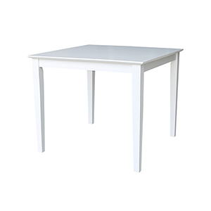 Solid Wood 36 inch Square Dining Height Table  in White
