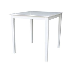 Solid Wood 36 inch Square Counter Height Dining Table  in White