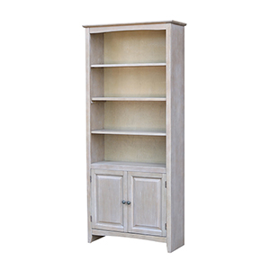 72 inch Shaker Bookcase with Two Lower Doors in Washed Gray Taupe