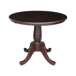 30-Inch Tall, 36-Inch Round Top Rich Mocha Pedestal Dining Table