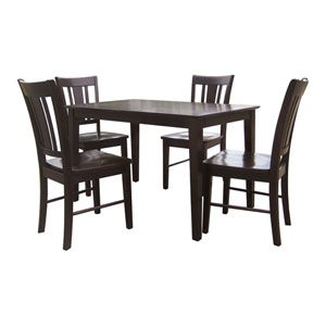 Dining Essentials Java Solid Wood Top Shaker Dining Table with Four Chairs