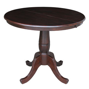 Rich Mocha 36-Inch Round Pedestal Dining Table