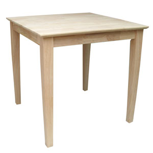Unfinished 30-Inch Square Dining Table