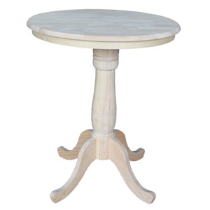 Unfinished 30-Inch Round Pedestal Counter Height Table