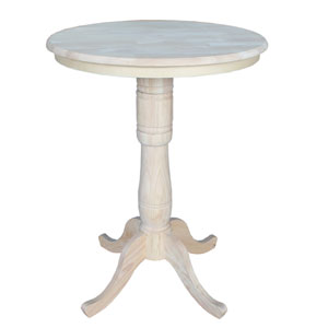 Unfinished 30-Inch Round Pedestal Bar Height Table