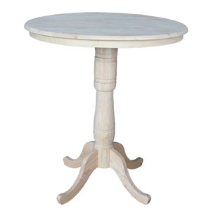 Unfinished 36-Inch Round Pedestal Bar Height Table