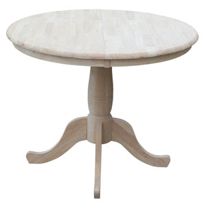 Unfinished 36-Inch Round Extension Dining Table with 12-Inch Leaf