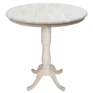 Unfinished 36-Inch Round Extension Bar Height Table with 12-Inch Leaf