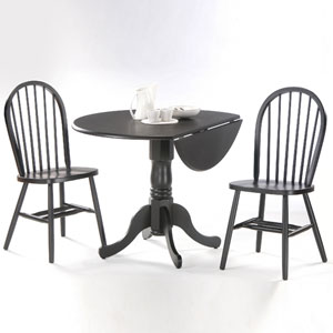 Dining Essentials Black 42 Inch Dual Drop Leaf Dining Table with Two Windsor Chairs
