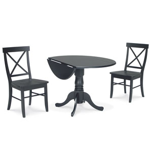Dining Essentials Black 42 Inch Dual Drop Leaf Dining Table with Two Chairs