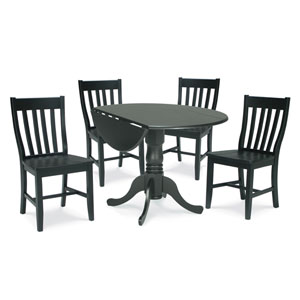 Dining Essentials Black 42 Inch Dual Drop Leaf Dining Table with Four Schoolhouse Chairs