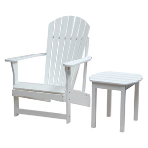 Adirondack White Chair with Side Table, Set of Two