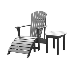 Adirondack Black Chair with Side Table, Set of Two
