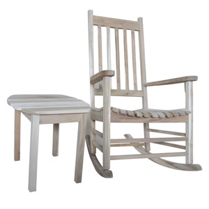 Porch Rocker Unfinished with Side Table, Set of Two