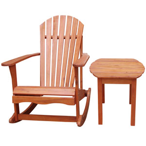 Adirondack Rocker Oiled Stained with Side Table