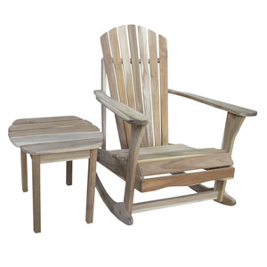 Unfinished Adirondack Rocker with Side Table