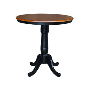 36-Inch Tall, 36-Inch Round Top Black and Cherry Pedestal Counter Table
