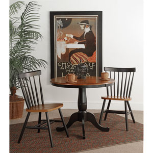 Black And Cherry 36-Inch Round Pedestal Three Piece Table Set