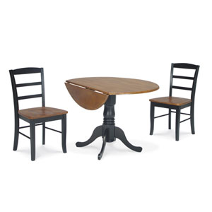 Dining Essentials Black and Cherry 42 Inch Dual Drop Leaf Dining Table with Two Madrid Chairs