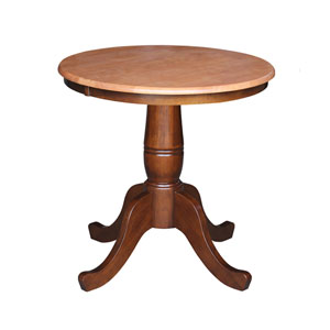 30-Inch Tall, 30-Inch Round Top Cinnamon and Espresso Pedestal Dining Table