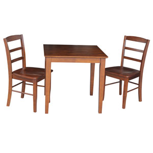 Dining Espresso 30-Inch Wide Dining Table with Two Ladder Back Chairs