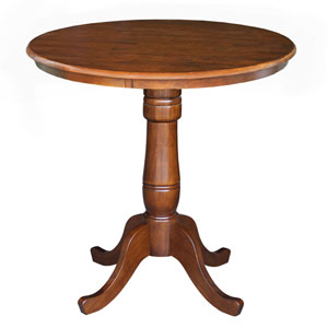 Dining Espresso 36-Inch Tall, 30-Inch Round Top Counter Height Pedestal Table