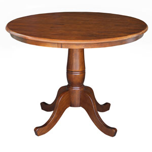 Dining Espresso 30-Inch Tall, 36-Inch Round Top Pedestal Table