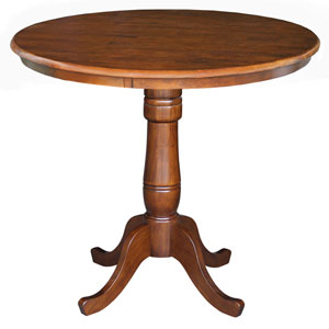 Dining Espresso 36-Inch Tall, 36-Inch Round Top Counter Height Pedestal Table