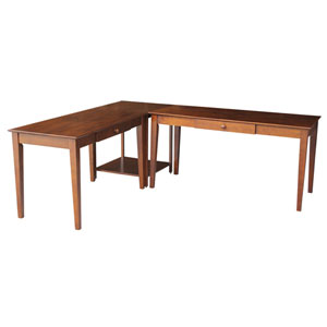 Espresso L-Shaped Desk Kit with Connecting Table