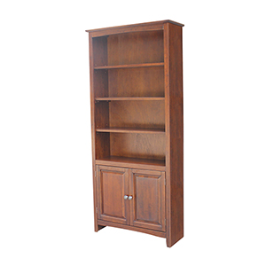 72 inch Shaker Bookcase with Two Lower Doors in Espresso