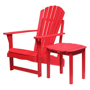Adirondack Red Chair with Side Table, Set of Two