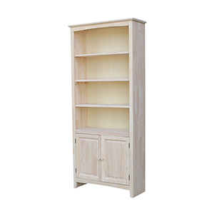 72 inch Shaker Bookcase with Two Lower Doors Unfinished