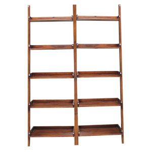 Espresso Two Piece Set of Lean to Shelf Units with Five Shelves